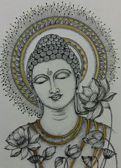 By Swagatika Mohanty Buddha Drawing, Doodle Art Drawing, Buddha Painting, Buddha Art, Mandala Drawing, Mandala Art Lesson, Doodle Art Designs, Art Drawings Sketches Simple, Madhubani Art