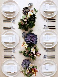 White linens and china, dark silveware and succulent and floral centerpieces for a natural contemporary table for dinner party or wedding. How to Host a Magazine-Worthy Dinner Party via Succulent Centerpieces, Wedding Centerpieces, Wedding Table, Wedding Decorations, Centerpiece Ideas, Succulent Table Decor, Succulent Plants, Masquerade Centerpieces, Succulent Display
