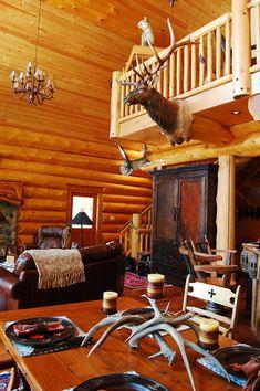 Squanga Lake Log Home Design – Streamline Design Log Cabin Homes, Log Cabins, Log Home Interiors, Log Home Designs, Rustic Cabin Decor, Cabins And Cottages, Floor To Ceiling Windows, My Dream Home, Dream Homes