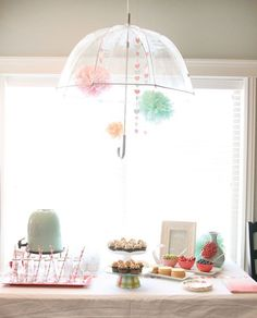 Baby shower with a rain shower theme
