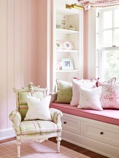 Pretty in Pink  Multiple shades of pink combine with crisp white to create a warm and cozy reading nook in this girl's bedroom. Patterns stay away from overtly childish themes, however, sticking instead to classic plaids and florals for a timeless look that can age well with your child. Pastel green fabrics inject a soft coolness into the palette.