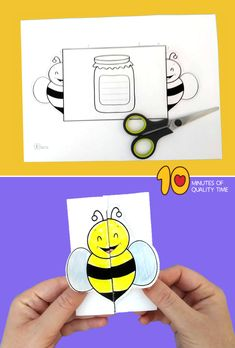 Bee and Honey Printable Card Numbers Kindergarten, Kindergarten Crafts, Preschool Crafts, Dolphin Coloring Pages, Owl Coloring Pages, Weather Activities Preschool, Craft Activities For Kids, Sunday School Crafts, School Fun