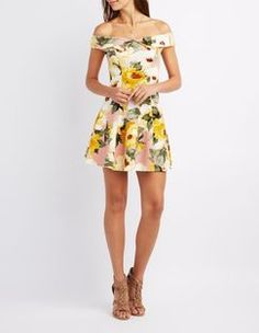 Charlotte Russe Floral Print Off-The-Shoulder Skater Dress Found on my new favorite app Dote Shopping #DoteApp #Shopping