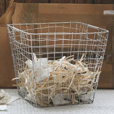 wire mesh waste basket. need for studio.