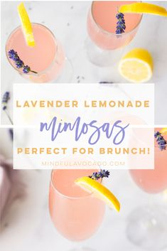 When life hands you lemons, make lavender lemonade mimosas! Champagne, lemonade, and a homemade lavender simple syrup are all you need to make this mimosa recipe Lavender Drink, Lavender Cocktail, Cocktail Syrups, Cocktail Recipes, Martini Recipes, Avocado Cocktail Recipe, Vegan Avocado Recipes, Vegetarian Recipes, Lavender Recipes