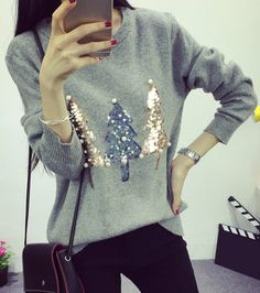 Trendy Round Collar Long Sleeve Sequined Sweater For Women