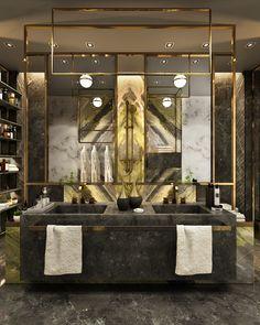 Antolini Black Bathroom on Behance Modern Bathroom Faucets, Mold In Bathroom, Bathroom Design Luxury, Bathroom Spa, Bathroom Ideas, Washroom, Black And Gold Bathroom, Bathroom Vanities, Bathroom Designs