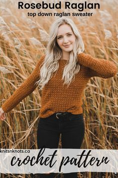 Crochet kit for a textured sweater! The Rosebud Raglan is size-inclusive up to # crochet sweater Crochet Kit - Rosebud Raglan Crochet Hooks, Crochet Baby, Knit Crochet, Doilies Crochet, Crotchet, Crochet Cardigan, Crochet Sweaters, Knit Cardigan Pattern, Crochet Patron