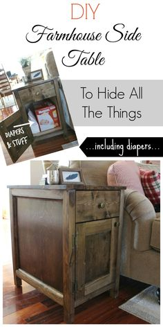 diy table DIY Farmhouse Side Table with Storage for Diapers and Other Random Stuff You Want To Hide Farmhouse End Tables, Rustic End Tables, Diy End Tables, Diy Table, Side Tables, Bed Side Table Diy, Patio Table, Wood Table, End Tables With Drawers