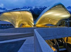 Nordpark Cable Railway, a four-station funicular line that replaced a 100-year-old tram and transports passengers up a vertiginous incline for 1.1 miles. Each of Hadid's stations is capped with swooping glass shapes that suggest ice floes and snowdrifts.