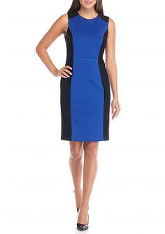 Calvin Klein Mixed Media Colorblock Sheath Dress