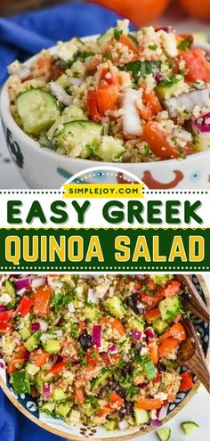 This side dish doubles as a make-ahead lunch idea! Tossed in Greek dressing, this Mediterranean quinoa salad recipe is packed with fresh, delicious flavors. Find yourself eating it all week long! Greek Quinoa Salad, Mediterranean Quinoa Salad, Quinoa Salad Recipes, Cilantro Lime Quinoa, Quinoa Benefits, Grilled Chicken Sandwiches, Make Ahead Lunches, Salad Ingredients, How To Cook Quinoa