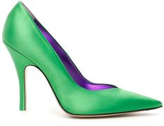 Shop The Attico Satin Pumps and save up to EXPRESS international shipping! Pointed Toe Pumps, Stiletto Heels, Green High Heels, Next Clothes, Satin Pumps, Velvet Blazer, Holiday Outfits, Emerald Green, How To Wear