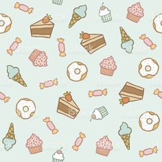 Sweet cakes, candies, cupcakes, donuts and ice-cones pattern royalty-free stock vector art Greeting Card Template, New Year Greeting Cards, Free Vector Art, Free Vector Images, Vegan Sign, Patterned Cake, Surfing Quotes, Halloween Greetings, Cartoon Stickers