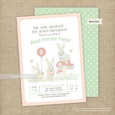 Bunny Birthday Invitation/ Triplets Birthday Invitation | Printable or Printed