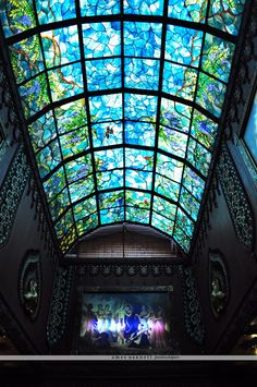 Stained glass ceiling inside the temple at Prabhupada's Palace of God and City of Gold in New Vrindaban, West Virginia.