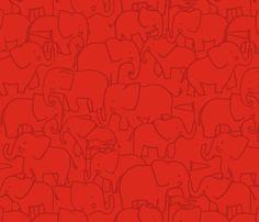 Red Hugo Elephant fabric by indiecraftparade on Spoonflower - custom fabric