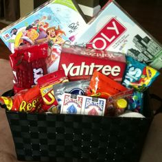 Great bridal shower gift have a game night basket, bathroom basket( tooth paste, floss.) date night, kitchen basket,. Goodie Basket, Raffle Baskets, Gift Baskets, Game Basket, Creative Gifts, Cool Gifts, Creative Ideas, Unique Gifts, Craft Gifts