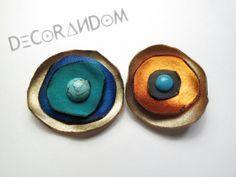 orecchini di stoffa fiore di stoffa multicolor recycled fabric  fabric jewelry  of11 di decorandom su Etsy