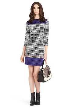 e46ba559ea747 Ruri Printed Silk Jersey Shift Dress in Modern Harlequin Placement by DVF