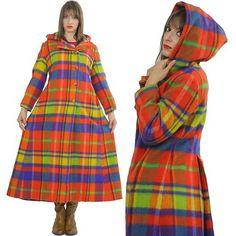 Vtg 70s Boho Hippie Wool Mod Neon Plaid Long Hooded Maxi Coat Jacket Glam Sz M | eBay