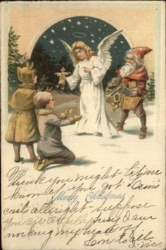 Christmas – Small Gnome-Like Santa Claus & Angel – Unusual c1910 Postcard in Collectibles, Postcards, Holidays | eBay