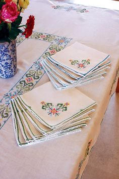 French Vintage Large Hand Cross-stitched Embroidered Tablecloth with 10 Matching Napkins
