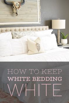 Easy tip on how to keep white bedding WHITE! White Comforter Bedroom, White Down Comforter, White Bedroom, Master Bedroom, Grey Bedding, Cleaning White Sheets, Brighten Whites, Clean Bed, Deep Cleaning