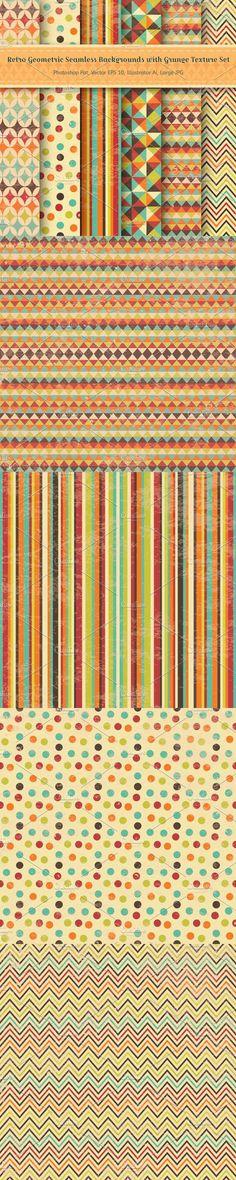 Retro Geometric Seamless Backgrounds. Patterns. $4.00