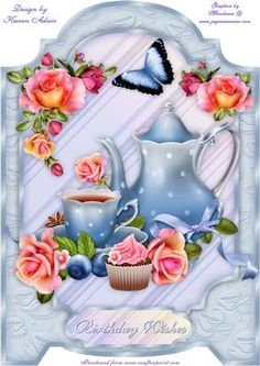 Time For Tea A4 Screen Card on Craftsuprint designed by Karen Adair - This is a pretty screen card featuring teapot, cup and saucer and cupcake, with pretty Roses. If you like this check out my other designs, just click on my name. - Now available for download!