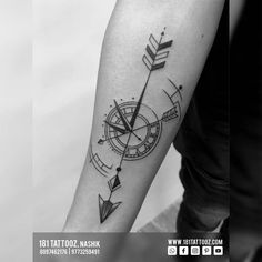An arrow represents a definite direction towards some goal... Addition of the compass and pocket watch turns the arrow into a guided missile, to travel hit its mark.. .This meaningful tattoo made matching by two friends makes it more outstanding as strong Friendship goal.. . Did this tattoo after reopened after Lockdown and Reinnovation For such more Matching Relationship goal Tattoos visit @181_tattooz_studio . For more details visit our website www.181tattooz.com Bicep Tattoo, Creative Tattoos, Meaningful Tattoos, Compass, Relationship Goals, Pocket Watch, Arrow, Friendship, Strong