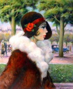 """François Batet   Spanish Art Déco painter - Born in Barcelona on 1921. Before devoting himself to painting on the theme of the 30s, the legendary """"Roaring Twenties."""" He abandoned his long career as an illustrator -including Hachette, Gautier-Languereau, France-Soir, France Dimanche, Confidences - and became known in Spain by drawing the famous """"El Coyote"""" until 1951."""