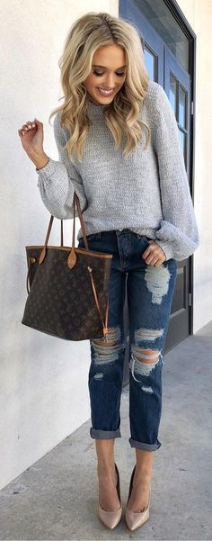 Chucky sweater. Turn up jeans. Nude heels - lovely | Stunning and stylish outfit ideas from Zefinka.com for fashionable women.
