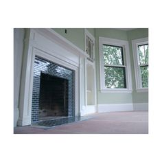 Glass Tile Gallery - Black Subway Tile Fireplace found on Polyvore