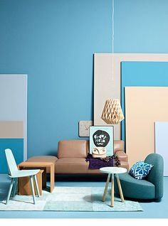 Blue, beige, mint, interior, modern, Bauhaus, cubism, leather sofa, art in interior.