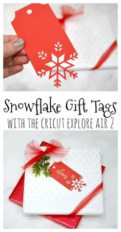 These snowflake gift tags are a gorgeous addition to any package and you can create them so quickly and easily! Christmas Gift Tags, Noel Christmas, Christmas Wrapping, Christmas Projects, Holiday Crafts, Cricut Christmas Cards, Christmas Stockings, Xmas, Christmas Tables