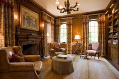 Library | Fireplace | Wood Walls & Trim | Antelope Rug | Custom Drapes | Just Lovely.....
