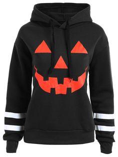 74b8d63f2b4 Plus Size Drop Shoulder Flocking Halloween Pumpkin Hoodie