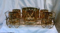 Culver Valencia Diamond Jeweled Cocktail Ice Bucket 6 Glass Caddy Rack 22k Gold #CulverGlass
