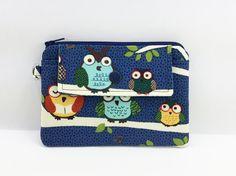 Zipper Coin Purse Mini Snap Wallet Navy Blue Owl by ZestyNotion