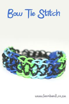 Bow tie stitch loom band bracelet tutorial, instructions and videos on hundreds of loom band designs. Shop online for all your looming supplies, delivery anywhere in SA. www.bionto.com