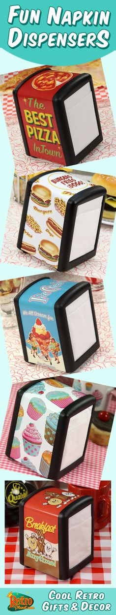 Fun vintage themed napkin dispensers for your kitchen, dining room,home theater, diner or restaurant. Thee metal dispensers are made for half size restaurant napkins, and feature wraparound glossy decals with cool retro designs. It's an attractive table accessory that will tempt your guests to stay even tidier than usual!