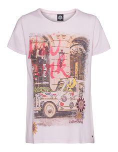 Jersey-T-Shirt mit Print und Strass Rosafarbenes T-Shirt aus einem hochwertigen Baumwoll-Modal-Gemisch im geraden Schnitt mit Rundhalsausschnitt und kleinem Label-Emblem.  Ein besonderes Highlight ist das farbenfrohe New York-Tweety-Taxi-Design mit Pailletten-Stickerei und Strass- sowie Perlen-Verzierung in Kaviar-Optik!  Ein süßes Statement-Piece!