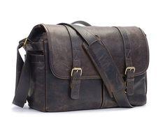 ONA Dark Truffle Leather Brixton Camera and Laptop Messenger Bag