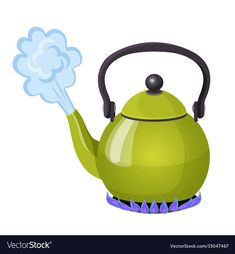 Boiling water in aluminium kettle on gas flame vector image on VectorStock Kettle Print stickers Vector images