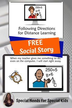 Following directions while distance learning is especially challenging for students in special education heading back to school. Download this free social story to help teach the basics of how to pay attention when your teacher is on the computer. Includes a movie you can show on a google slide or send in google classroom. #specialneedsforspecialkids #specialeducation #specialed #followingdirections #backtoschool #socialstory #distancelearning Following Directions, Social Stories, Help Teaching, Google Classroom, Your Teacher, Third Grade, Special Education, Distance, Back To School