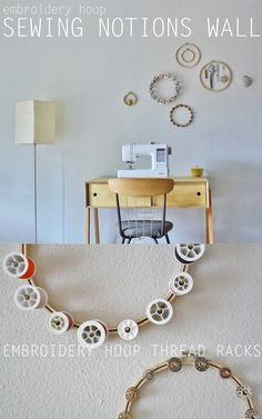 DIY Craft Room Ideas and Craft Room Organization Projects - Embroidery Hoop Thread Rack - Cool Ideas for Do It Yourself Craft Storage - fabric, paper, pens, creative tools, crafts supplies and sewing notions Space Crafts, Home Crafts, Diy And Crafts, Cool Ideas, Craft Organization, Craft Storage, Thread Storage, Sewing Spaces, Do It Yourself Crafts