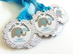 No wonder these elephant tags are so popular. These elephant favor tags are so cute and perfect for a baby boy shower party! The gray elephant with blue stripe ear playing with water is so adorable. Each gift tag has a fun phrase that says Thanks for Showering a Sweet Little Peanut! I use Chevron pat