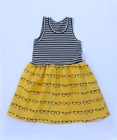 Another great find on #zulily! Yellow Stripe Glasses Dress - Infant, Toddler & Girls by Alejandra Kearl Designs #zulilyfinds
