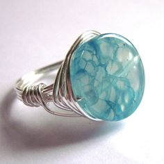 Wire Wrapped Ring Turquoise Agate Gemstone Fashion Jewelry. £9.60
